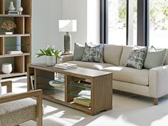 Neutral living room featuring the Chronicle sofa from Lexington Home Brands. Discount Furniture, Glass Shelves Kitchen, Large Furniture, Floating Glass Shelves, Purchase Furniture, Furniture, Glass Shelves, Lexington Home, Glass Shelves In Bathroom