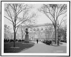 The New York Public Library and Bryant Park, New York. 1910-1920