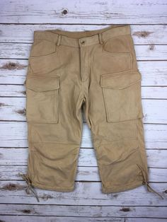 promo code 7d166 51f48 DSQUARED2 Khaki Brown Calf Leather Cargo Crops Cropped Pants Size 50 Mens  34 US