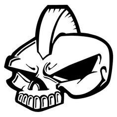 Mohawk Skull Laptop Car Truck Vinyl Decal Window Sticker PV282