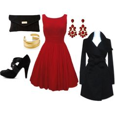 The red dress and a light black jacket or black sweater would be a great winter outfit