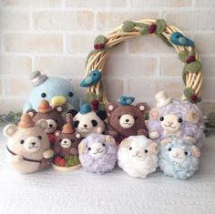 Handmade cute Needle felting project wool animals bears sheep(Via @nijiirotamago):