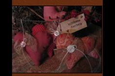 Primitive set of 6 prim valentines day hearts pink by PrimBoutique, $12.50