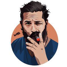ogysof… Frankad Art 736 X 735 Celebrities Wallpaper. Portraits Illustrés, L'art Du Portrait, Vector Portrait, Art And Illustration, Portrait Illustration, Cartoon Kunst, Cartoon Art, Cool Art Drawings, Art Sketches