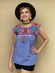 Floral embroidery blue gingham shirt, SMALL checkered mexican blouse, chess style outfit, cinco de mayo, boho hippie top, charro days fiesta Mexican Blouse, Mexican Outfit, Mexican Top, Blue Gingham Shirts, Gingham Fabric, Hippie Tops, Boho Hippie, Picnic Outfits, Romper Pattern