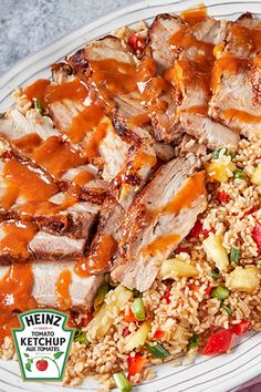 Flanc de porc à l'hawaïenne avec riz à l'ananas #recette Cooked Pineapple, Pineapple Rice, Summer Recipes, Holiday Recipes, Sauce Sriracha, 12 Recipe, Cooking Instructions, Grilled Meat, Pork Belly