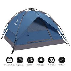 Camel 23 Person Family Instant Tent for Camping Ultralight Waterproof Sundome Pop Up Backpacking Tent with Carry Bag * Be sure to check out this awesome product. (This is an affiliate link)