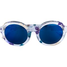 LINDA FARROW Round Frame Floral Sunglasses ($305) ❤ liked on Polyvore featuring accessories, eyewear, sunglasses, blue tinted sunglasses, translucent glasses, round frame sunglasses, colorful glasses and acetate glasses