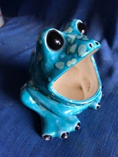 Vintage 1970s Turquoise Blue Green Frog Sponge Holder Kitchen Mid Century Kitsch