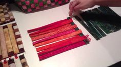 Weaving fabric strips for Aunties Two bags