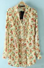 Beige Drawstring Waist Floral Pleated Blouse $29.84