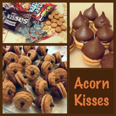 Acorn Kisses!!!  So easy and so cute!  Mini Nutter Butter bites, Hershey's Kisses, and Mini chocolate chips!