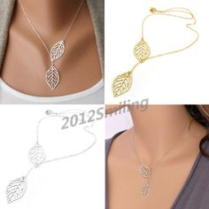 Women's Chic 2 Leaves Choker Collar Statement Pendant Necklace Jewelry Findings #Unbranded #Fashion
