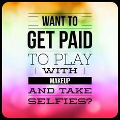 Join me on this amazing adventure! Get paid to play with makeup & take selfies on social media! I'll train you to be none other than the best! $99 will get you over $211 worth of makeup, your own website & can change your life forever! NO ANNUAL FEES & NO AUTOSHIPS! What are you waiting for?!? #ClickTheImageToJoin #Questions #EmailMe sarahandbrianyounique@gmail.com or comment below