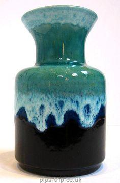 1960's Jasba (West German) Blue Lava Glazed Vase