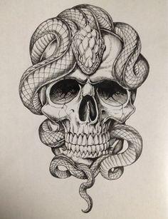 And Snake Tattoo Tattoos Piercings Jetzt kaufen! Snake Tattoos … And Snake Tattoo Tattoos Piercings Get it now! Skull Tattoo Design, Skull Tattoos, Body Art Tattoos, Sleeve Tattoos, Tattoo Designs, Tatoos, Skull Design, Snake Sketch, Snake Drawing