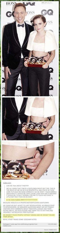 Tom Hiddleston: gentleman