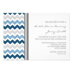 Dark Blue Gray Chevron Bridal Shower Invitation