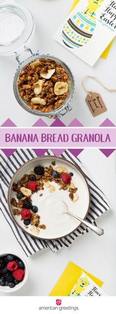 Keep your Easter brunch menu low-key but delicious thanks to this recipe for Banana Bread Granola. The combination of bananas, maple syrup, rolled oats, walnuts, flaxseed, and cinnamon, makes this gluten-free and vegan breakfast treat a favorite with your family. Plus, it would even make a thoughtful spring gift idea when paired with a greeting card from Target!