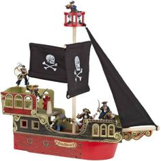 """Papo Pirate Ship by Papo. $69.33. Black sails with a skull and crossbones motif   black sails with a skull and crossbones motif. Length 19.25"""" x Width 6"""" x Height 19"""". Wooden pirate ship with crow's nest. From the Manufacturer                Pretend play any number of pirate stories with this high-quality, painted wooden pirate ship. This bright ship is ready to sail with its black sails with a skull and crossbones motif. Crow's nest on top of the mast will fit pirate figur..."""