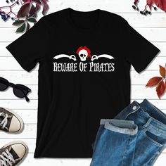 Pirate Shirts, Pirate Party, Beware of Pirates Boat Shirts, Pirate Shirts, Fishing Shirts, Couple Shirts, Family Shirts, Screen Printing Shirts, Pirate Party, Long Tops, Long Sleeve Shirts