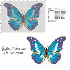 Blue and violet butterfly - free pattern (89x62)