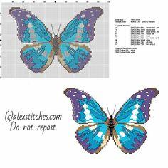 Butterfly Cross Stitch Patterns   ... beautiful blue and violet butterfly free cross stitch pattern download