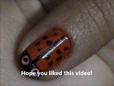 Lady Bug on my nail design - easy nail art for short nails- nail art tutorial- beginners