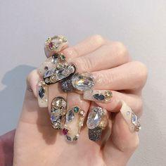 Gem Nails, Diamond Nails, Love Nails, Pink Nails, Pretty Nails, Nail Art Designs Videos, Gel Designs, Acrylic Nail Designs, Asian Nails