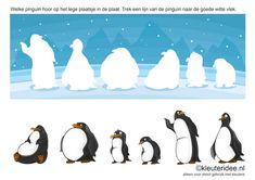 * Welke pinguïn hoor op het lege plaatsje in de plaat. Kleuteridee.nl , Trek een lijn van de pinguïn naar de goede witte vlek, free printable.