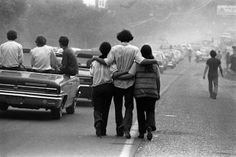 walking to woodstock, bethel, ny, 1969 •