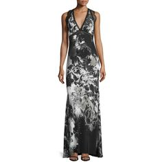 Roberto Cavalli Sleeveless Kimono-Floral Gown ($3,040) ❤ liked on Polyvore featuring dresses, gowns, sheer floral kimono, silk gown, empire waist gown, silk kimono and black and white floral dress