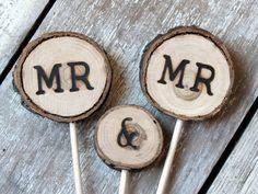 Gay Wedding Rustic Wedding Cake Topper / MR & MR by alifesosimple