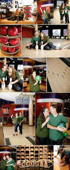 bowling engagement shoot. Love the shoes with the date