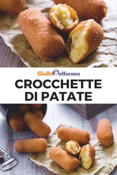 CROCCHETTE DI PATATE: con la loro panatura croccante e dorata e il ripieno morbido conquistano da sempre i palati di grandi e piccini. Scopri come prepararle a casa! #crocchette #patate #fritte #fried #potato #croquettes #balls #bites #nuggets #easy #recipe #ricetta #facile #veloce #aperitivo #happyhour #giallozafferano [Easy italian potato croquettes recipe] Italian Snacks, Italian Potatoes, Potato Croquettes, Antipasto, Diy Food, Potato Recipes, Finger Foods, Buffet, Vegetarian Recipes