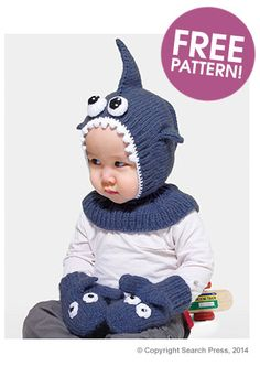 Shark Hat and Mittens Pattern | Deramores