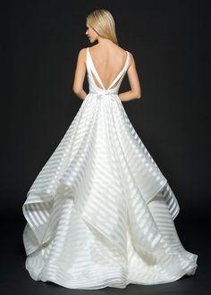 Modern Striped A-Line Wedding Dress with an Open Back | http://heyweddinglady.com/styling-decklyn-hayley-paige/ g-decklyn-hayley-paige