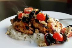 Chicken Recipes Greek Chicken with Feta Olive and Tomato Salad recipe
