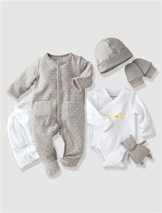Canastilla 5 prendas bebé recién nacido BLANCO CLARO ESTAMPADO+GRIS CLARO ESTAMPADO
