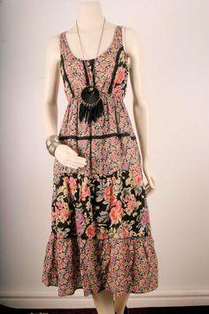 Lace Dress tiered milk maid Bohemian boho gypsy maxi by sparrowlyn, $52.00