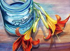 BALL JAR with lilies 5 x 7 inch print signed by by Redstreake, $15.00