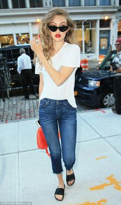 Anything but plain Jane: The 21-year-old rocked the classic look of a white shirt and jeans