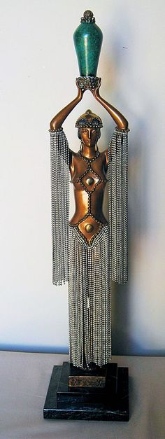 "Erte' Bronze Sculpture ""Emerald Vase"""