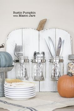 DIY Rustic Pumpkin with Mason Jars -- a perfect addition to your holiday entertaining! livelaughrowe.com #DIHWorkshop #ad