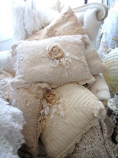 Shabby chic pillows, crochet lace
