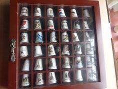 collection thimbles, wooden display case, world thimbles, hanging display case, perspex cover, starter set, gilded thimbles, ready to hang, by MaddisonsRainbow on Etsy