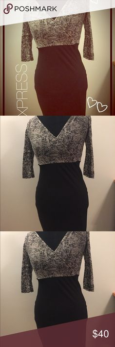 🆕✂️Express Soft and Sexy Gray & Black Midi Dress ✂️Price Cut✂️Brand new but tags removed, this dress is a stunner!  Express size Small. Top of dress has 3/4 sleeve gray pattern with a v-neck wrap neckline. Top is slightly sheer so wear a camisole underneath. The bottom is a stretchy black fabric that perfectly hugs curves and slims waistline. This dress is great! Express Dresses Midi