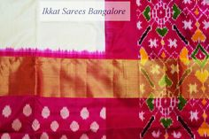 Gorgeous handwoven Ikkat silk saree with striking dobby weave with patterned border and rich contrast patola pallu & blouse. Code: ISB5204 Write to ikkatsareesbangal... or inbox the message. Contact : +918792177606 www.facebook.com/ikkatsareesbangalore
