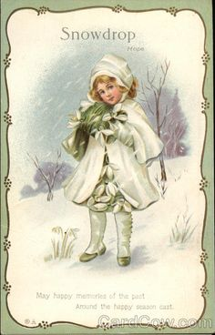 Undated Used Postcard Christmas Greetings Snowdrop Hope Girl in the snow Victorian Christmas, Vintage Christmas Cards, Christmas Images, Christmas Greetings, Vintage Cards, Kids Christmas, Vintage Images, Christmas Postcards, White Christmas