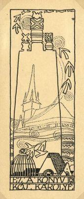 Ex libris by Lajos Kozma for Kós Károly, 1909